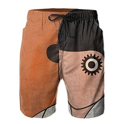 Inaayayi A-Clo-Ck-Work-Ora-Nge - Pantalones cortos de playa para hombre, estilo informal, de secado rápido, con múltiples bolsillos y forro de malla