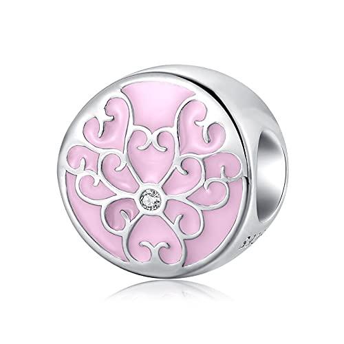 LISHOU Flor De Esmalte Rosa Cz Encantos Abalorios Cuelgan Bud Silver 925 Fit Original Pandora Charm Pulseras Colgante DIY Joyería Que Hace Regalos D1