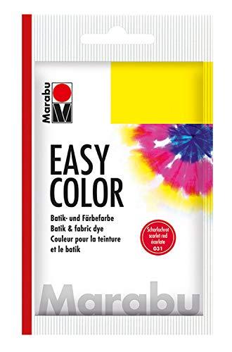 Marabu 17350022031 - Easy Color scharlachrot, Batik- und Handfärbefarbe für Baumwolle, Leinen, Seide und Mischgewebe, handwaschbar bis 30°C, sehr gute Lichtechtheit, nicht kochecht, 25 g