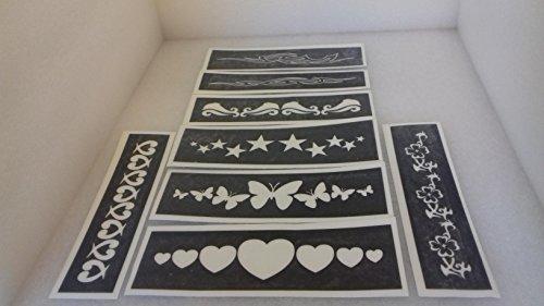 30 x Armband Schablonen für Glitzer Tattoos Airbrush Henna (gemischt) Delphin Herz Blume