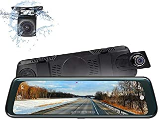 2020 Backup Camera, Eonon 9.66 Inch Rear View Mirror Dash Cam for Cars and Trucks,1080P FHD Front and Rear Dual Lens with Waterproof Touch Screen Backup Camera, G-Sensor, LDWS, WDR-R0013