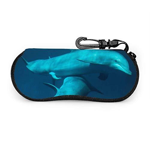 Carneg Gafas de sol portátiles de delfines de apareamiento con hebilla de bloqueo Bolsa suave Funda de gafas con cremallera de tela de buceo ultraligera