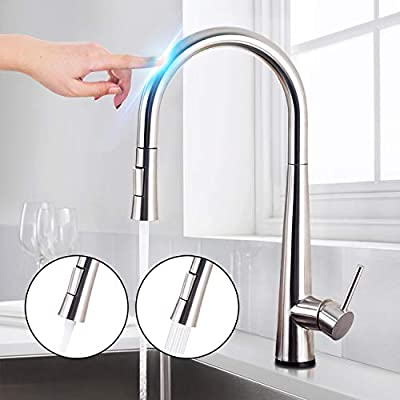 Saeuwtowy Brushed Nickel Touch On Kitchen Sink Faucets with Pull Down Sprayer, Single Handle Single Hole Kitchen Sink Faucets with Pull Out Sprayer, 304 Stainless Steel Brushed Nickel Finish