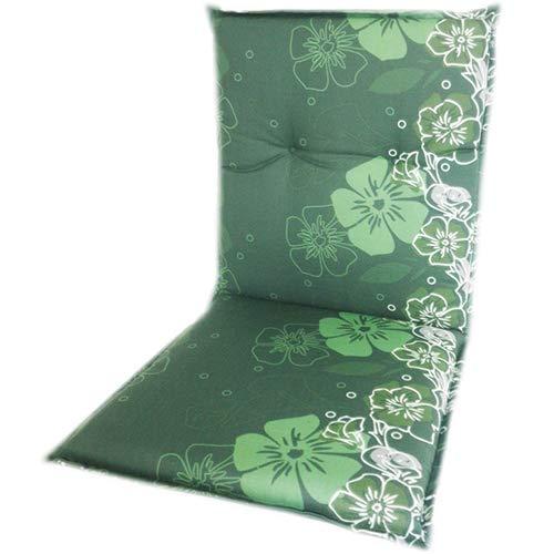 nxtbuy Coussin pour Chaises Extérieures Dossier Bas 'Barcelona' 100x50x6 cm | Remplissage De Mousse | Fabriqué dans l'UE | ÖkoTex100, Dessin:Green Flower M309, Numéro:Set x2