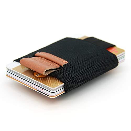 SWISSONA Tarjetero de Material sintético elástico y Cuero auténtico | portatarjetas, Estuche para Tarjetas, Cartera Mini, Billetera, Monedero para MAX. 16 Tarjetas