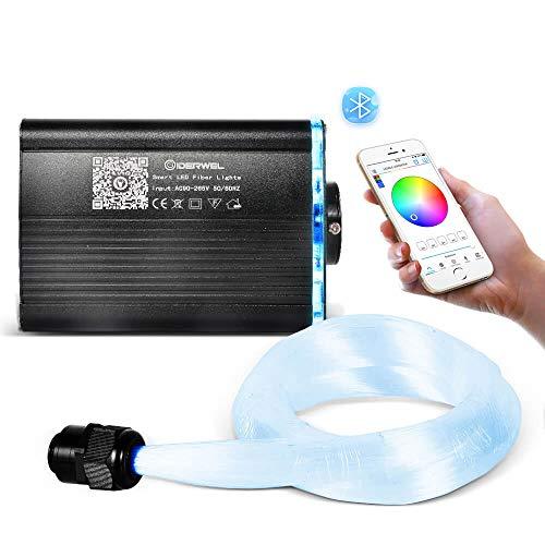 GIDERWEL Smart APP Controlled Fiber Optic Lights,LED Fiber Optic Star Ceiling Light Kit,200pcs 6.5ft 0.03in RGBW Optic Fiber Cable with Music Light Engine Change Color for DIY Car,Home Theater System