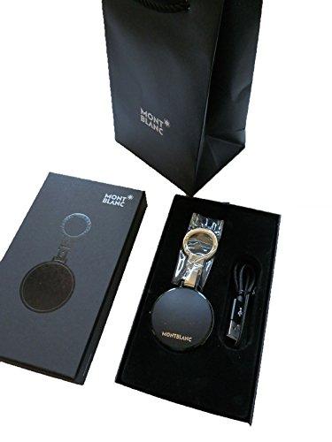MONTBLANC Mont Blanc Schlüsselanhänger, weiches genarbtes Leder, Sicherheits-Bluetooth-Smartphone, Android iPhone, ETAG ETAG E-TAG, Schwarz