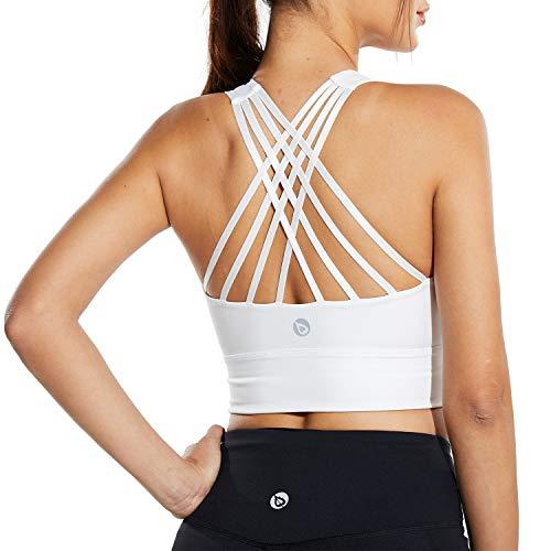BALEAF Sports Bra for Full Figure Women Plus Size C/D Cup Strappy Bra Medium Support Yoga Workout Longline Crop Tank Top White S