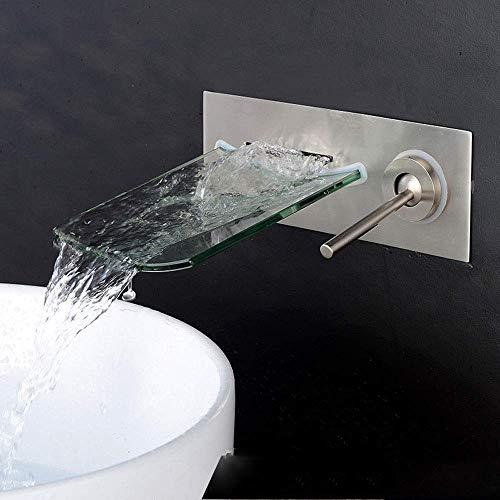LHTCZZB Válvula mezcladora Grifo de Lavabo Moderno for baño con Cascada, Grifo de Vidrio montado en la Pared, grifos con manija Singe, Grifo de Agua for baño Moderno Grifo de Agua Estilo Minimalista