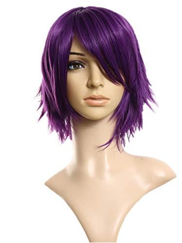 Prettyland Perruque Courte Moyenne mi-longue coupe courte Violet Prune Degradée Manga Fée à Chaleur C163