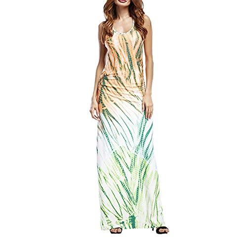 Vestido De Mujer ImpresióN Chaleco De Cuello Vestido Largo Vestido De Verano