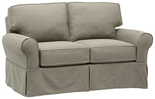 """Stone & Beam Carrigan Modern Loveseat Sofa Couch with Slipcover, 68""""W, Grey Taupe"""