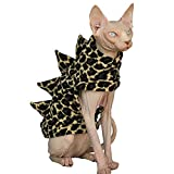 Khemn LUXURY丨HANDMADE丨100% Cotton Warm Leopard-Print Cat Sweater Cat Dinosaur Costume Cat Clothes-Best for Hairless Cat (L)