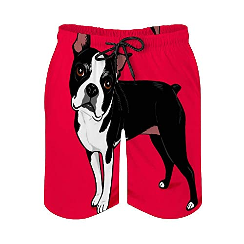 Boston Terrier Dog Herren Pocket Beach Pants Lose Schnell Trocknende Hosen Badeshorts Gr. XXL, Weißes Stil1