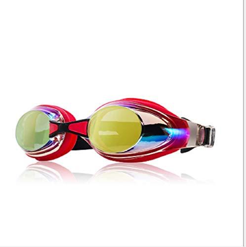 Gafas de natación, a prueba de fugas, anti niebla, protección UV, lentes transparentes de alta cobertura, con funda de protección gratuita para adultos hombres y mujeres jóvenes, varios colores, se entrega con clip para oreja y nariz., rojo