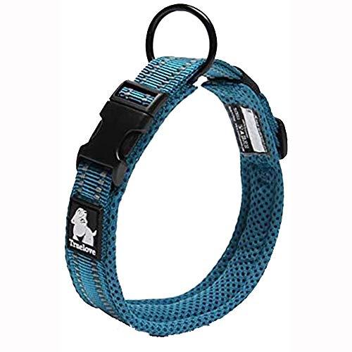 TRUE LOVE Dog Collar Reflective Premium Duraflex Buckle,High Grade Nylon Webbing No Choke Basic Collars Truelove TLC5011(Blue,L)