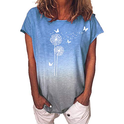 YANFANG Camiseta De Mujer Moda Manga Corta con Estampado Floral O-Cuello Casual Tops Blusa,Moda Primavera OtoñO Blusa AlgodóN Elegante para NiñAs,Morado,Azul,Naranja,S,M,L,XL,XXL