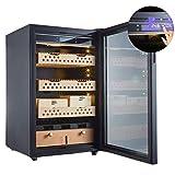 Humidificateurs Cigar Cabinet de température et d'humidité de cèdre Cigar Hydratante Cabinet Wine Cooler Ice Touch Bar Opération salle à manger Cuisine (Couleur: Noir, Taille: 59,5 * 60 * 97cm) ANGANG