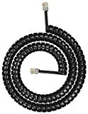 Telephone Cord, Phone Cord - Copper Coiled, Tangle-Free, Excellent Sound Quality, Handset Cable for Landline in Home or Office 15 Ft Black - by RamPro
