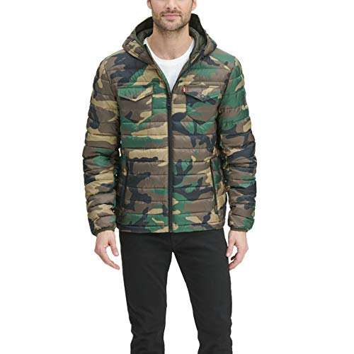 Levi's Men's Quilted Hooded Trucker Puffer Jacket, Camouflage, Medium