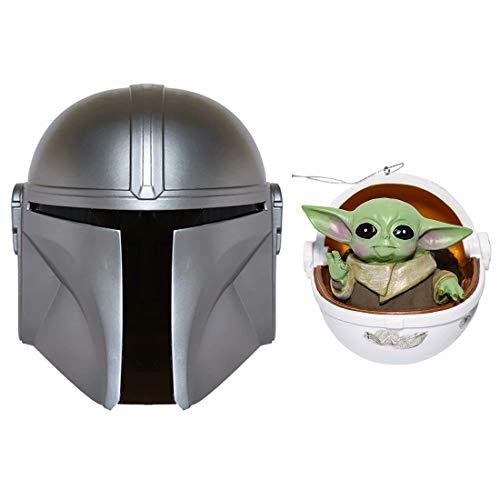 SW Mandalorian Boba Fett Helmet + Figure Metal PVC Full Head Mask Deluxe Helmet Cosplay Adults Silver