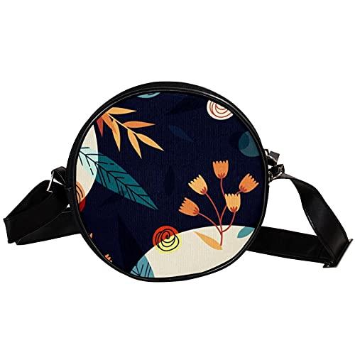 Bolso cruzado redondo pequeño bolso de las señoras de la manera de los bolsos del hombro del bolso de mensajero bolso de lona de la bolsa de la cintura Accesorios para las mujeres -