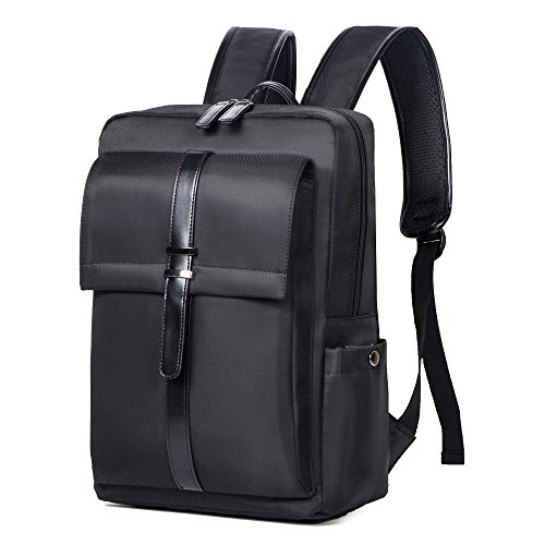 Oflamn Small Business Laptop Backpack Water Resistant Slim Travel Bag for 14-Inch Laptop (Black)