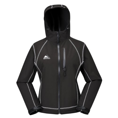 Cox Swain Damen 3-Lagen Outdoor Softshell Jacke Luyu - 10.000mm Wassersäule - 2.000mm atmungsaktiv, Colour: Black/Silver, Size: L