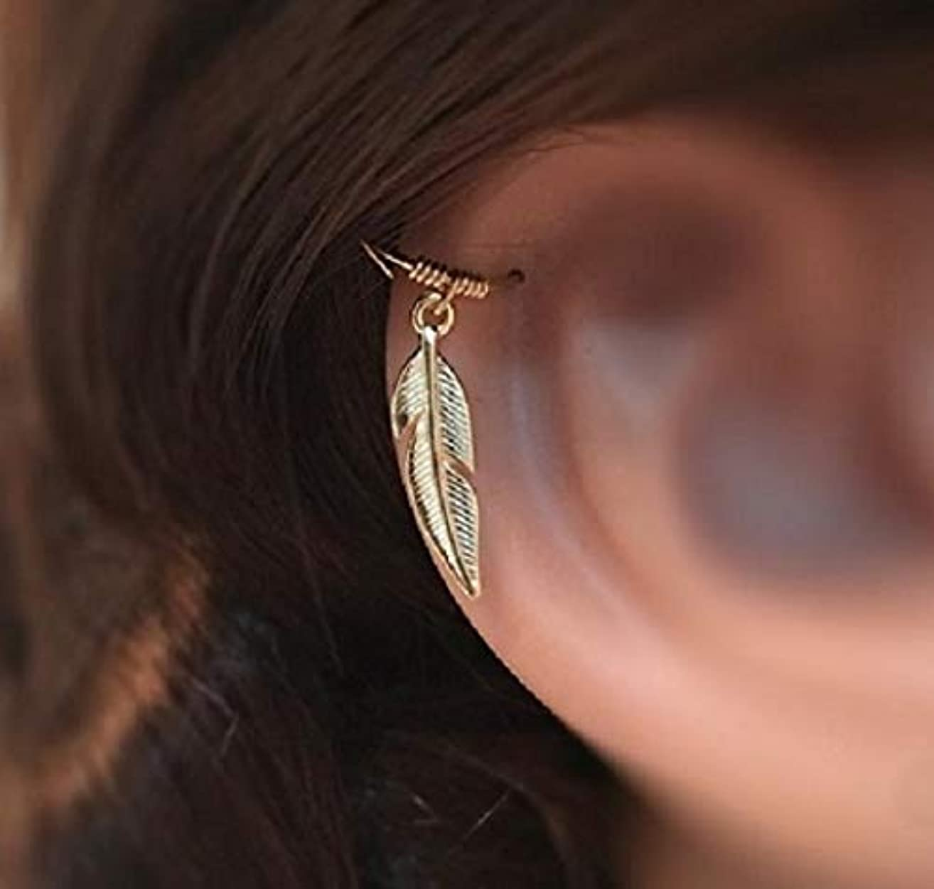 18K Gold Cartilage Earring - Helix Feather Hoop/Ring - Yellow/Rose Solid Gold