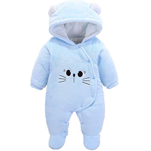 Morbuy Jumpsuit Bebé Unisexo Bebé Recién Nacido Franela Mameluco Invierno Ropa Una Pieza Pijamas Monos Caricatura Trajes (59, Gatito Azul)