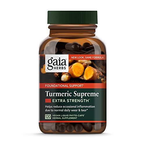 Gaia Herbs  Turmeric Supreme Extra Strength  Turmeric Curcumin Supplement with Black Pepper  Daily Joint Support & Healthy Inflammatory Response  Vegan Liquid Capsules  120 Count