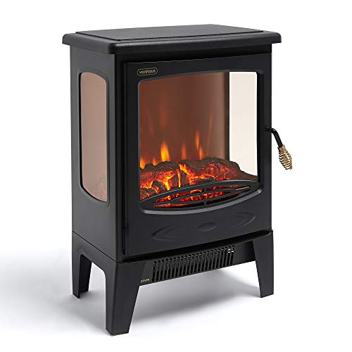 VonHaus Panoramic Electric Stove Heater ? 1800W Fireplace with LED Log Fire Flame Effect ? Adjustable Thermostat, Freestanding & Portable with Overheat Protection - Ideal for Living Room - Black