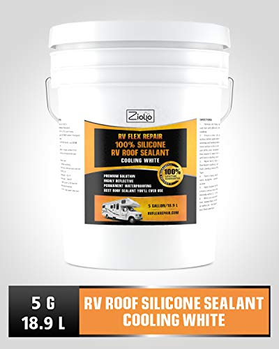 Ziollo RV Flex Repair 100% Silicone RV Roof Sealant Coating | 5 Gallon | Cool White | for EPDM Rubber, Metal, Fiberglass | Waterproof | Motorhome, Trailer, Camper (Cooling White, 5 Gallon)