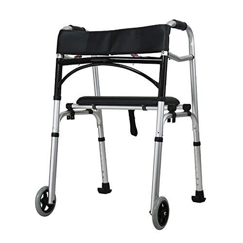 HGBKJUO Gehgestell, Gehrahmen mit Sitz und Rädern Gehbock Rollator Rückenlehne für Altere Menschen Höhenverstellbare Gehhilfe für Erwachsene Klappbarer,no Wheel