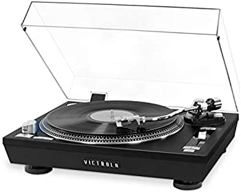 Victrola Pro Series USB Record Player with 2-Speed Turntable and Dust Cover Black
