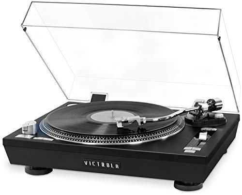 Victrola Pro Series USB Record Player with 2-Speed Turntable and Dust Cover, Black