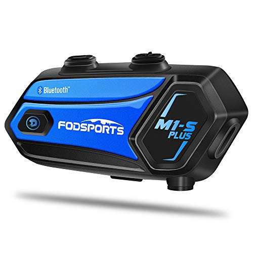 M1-S Plus Intercomunicador Casco Moto Fodsports con 900mAh, CVC Reducción De Ruido,Compartir Música, Micrófono Mudo, FM, Type-C, Intercomunicador 8 Jinetes De Bluetooth Moto Casco Manos Libres Moto