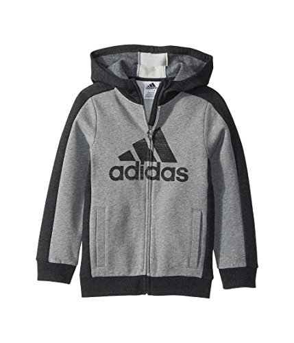 adidas Kids Baby Boy's Athletic's Jacket (Toddler/Little Kids) Charcoal Grey Heather 7