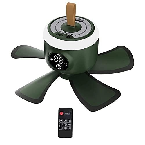 WGFGXQ Ventilador para Acampar con Linterna LED, 8000mAh Recargable Control Remoto Temporización Ventilador de Techo para Carpa de 4 Engranajes con lámpara LED para el hogar Cama al Aire Libre
