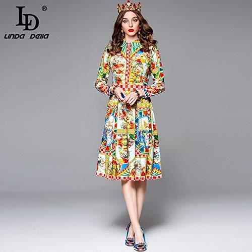 GMZA Herfst Modeontwerper Jurk met lange mouwen Dames Prachtig patroon Gedrukt A-lijn Vintage overhemdjurk Vestido