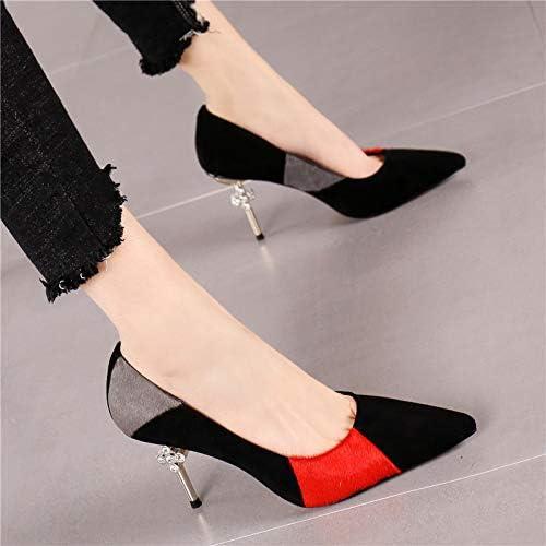 HRCxue zapatos de la Corte Moda a Juego de Color Salvaje de Gamuza Puntiaguda Sexy Rhinestone Tacones de Aguja Costura de Boca Baja Solo zapatos Hembra, 34, negro rojo