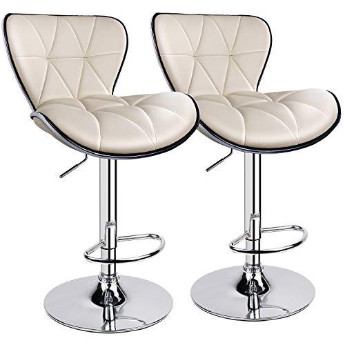 Leader AccessoriesBarhocker Shell (2er-Set) Barstuhl mit Lehne stylischer Tresenhocker höhenverstellbar 57-83cm Drehstuhl 360 Grad Bezug aus Kunstleder Beige