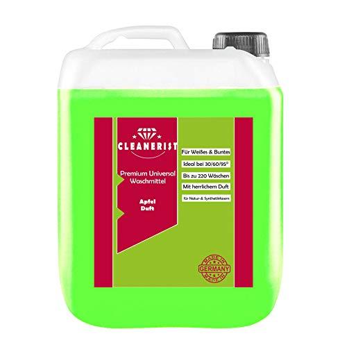Cleanerist Flüssigwaschmittel Premium Waschmittel mit Apfel-Duft | 5 Liter Vollwaschmittel Grosspackung | bis zu 110 Waschladungen color weiß schwarz