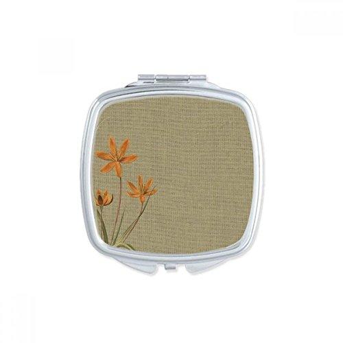 DIYthinker Broderie Design Tradition orchidée Lin Place Maquillage Compact Miroir de Poche Portable Mignon Petit Miroirs Main Cadeau
