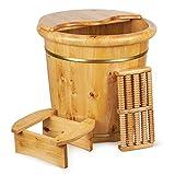 Wooden Bucket Wood Foot Soak Tub Spa Barrel-15 Inch Extra Large Solid Cedar Bathtub Soaking With Cover Lid Massager Roller Spoon Detox Bath