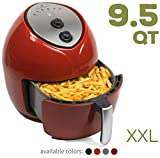 Paula Deen 9.5 QT (1700 Watt) Family-Sized Air Fryer, Rapid Air Circulation System, Single Basket System, Ceramic Non-Stick Coating, Simple Knob Controls, 50 Recipes, 1-Year Warranty (Red)
