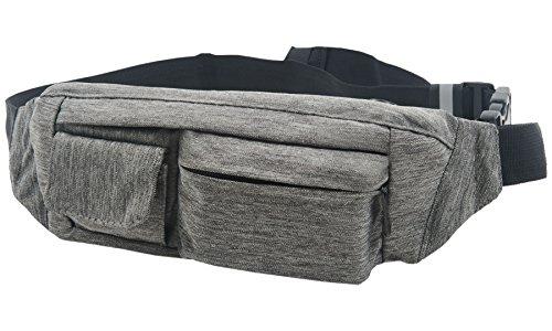 SoJourner 2-Pocket Gray Fanny Pack Hip Bag - fits men, women, kids, small, medium and large