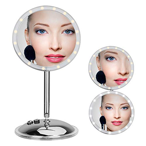 [Update Verson] Lighted Makeup Mirror, BEW Vanity Mirror with 16 LED lights & Touch Screen Dimmable, Removable 10x Magnifying Spot Mirrors, 180° Swivel Rotation, Battery & USB Power Supply (White)