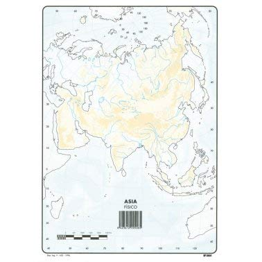 Mapa Mudo Asia Físico A4 (10 ud.)