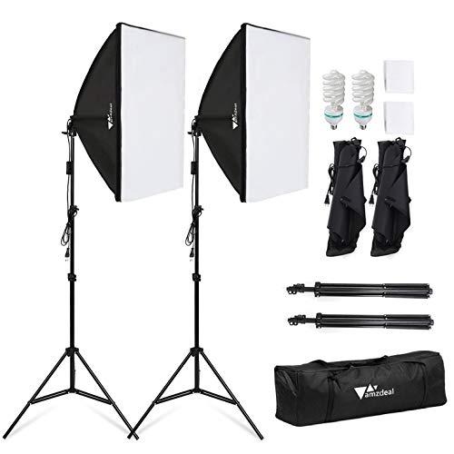 Amzdeal Softbox 2 Kit Éclairage, Softbox 50x70cm avec 2 Ampoules 1124W Lumière Continue 5500K et Un Sac de transport, Lumière Continue Douce pour Portrait, Objet, Photo de Mode et à l'Enregistrement Vidéo